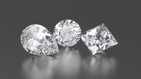 3D illustration three diamonds round, princes, pear with reflection on a gray background
