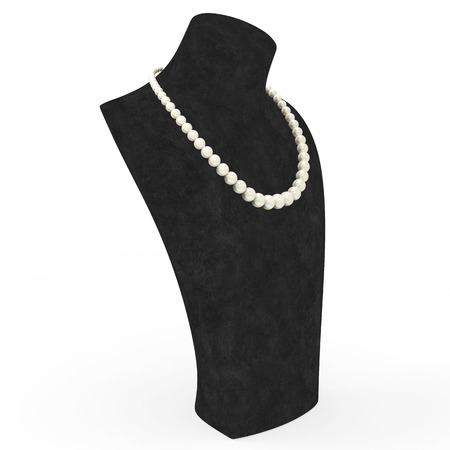 expensive: 3D illustration pearl necklace on a black mannequin on a white background