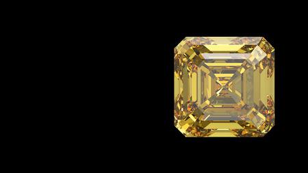 3D illustratie gele asscher diamant op een zwarte achtergrond Stockfoto