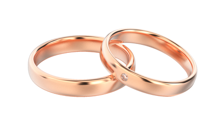 expensive: 3D illustration classic rose gold rings on a white background