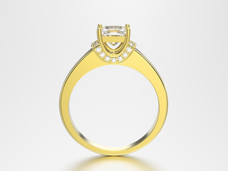 3D illustration yellow gold ring with diamonds on a grey background with a shadow