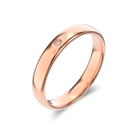 silver: 3D illustration isolated classic rose gold ring with a diamond and shadow on a white background Stock Photo