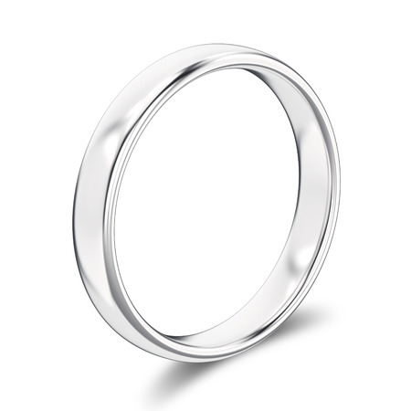 expensive: 3D illustration isolated classic white gold ring or silver with a shadow on a white background