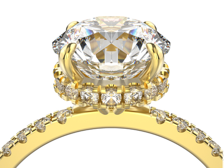 silver: 3D illustration isolated zoom macro yellow gold ring with diamonds on a white background