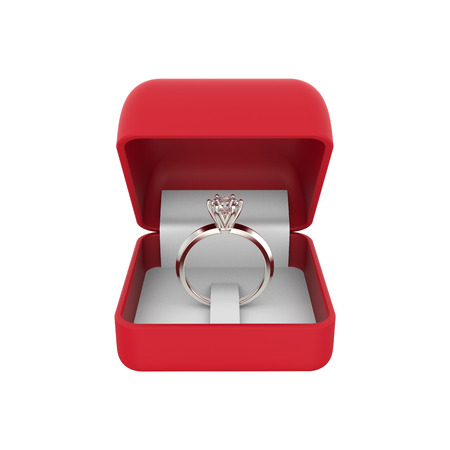 3D illustration closeup isolated white gold or silver diamond ring in a red box on a white background