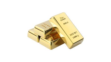 3D illustratie close-up geïsoleerd glanzend vier piramide van gouden staven op een witte achtergrond Stockfoto
