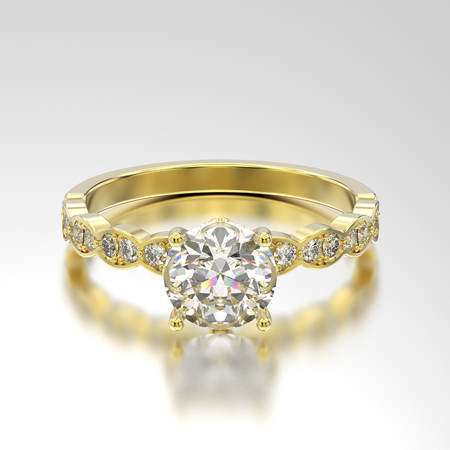 3D illustration yellow gold ring with diamonds with reflection on a grey background Archivio Fotografico