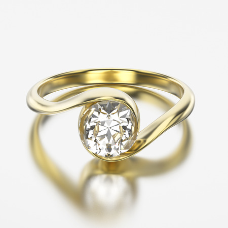 3D illustration yellow gold bypass with diamond with reflection on a grey background