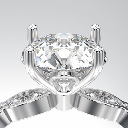 platinum: 3D illustration isolated zoom macro white gold or silver ring with diamonds on a white background