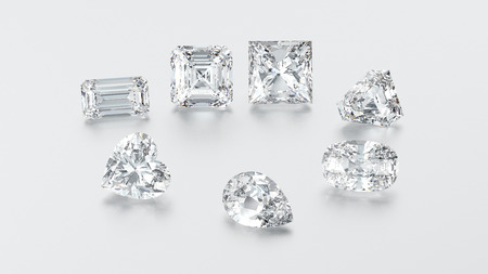 3D illustration closeup group of seven different diamonds zoom macro on a grey background Stock Photo