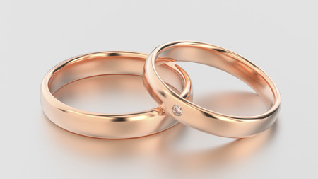 3D illustration classic rose gold rings with diamond on a white background with reflections and shadows