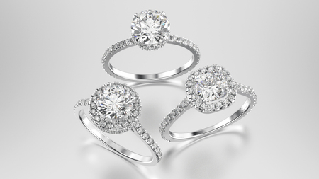 platinum: 3D illustration three different white gold or silver diamonds rings with reflection on a grey background