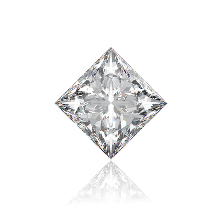 3D illustration closeup princes  rhombus diamond on a white background with reflection zoom macro