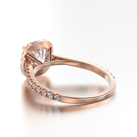 3D illustration rose gold ring with diamonds back view with reflection on a grey background