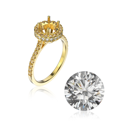 diamond stones: 3D illustration yellow gold ring without gemstone and round diamond with reflection on a white background
