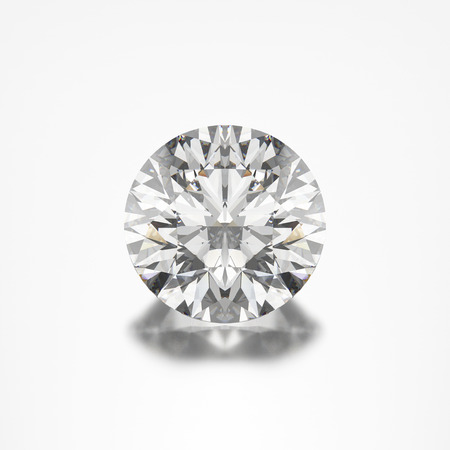 3D illustration closeup round diamond on a grey background with reflection zoom macro