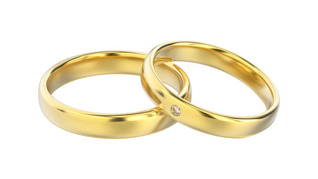 platinum: 3D illustration classic yellow gold rings with diamond on a white background
