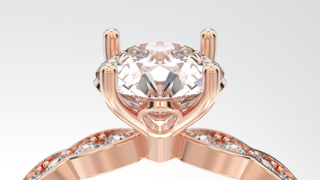 3D illustration isolated zoom macro rose gold ring with diamonds on a grey background