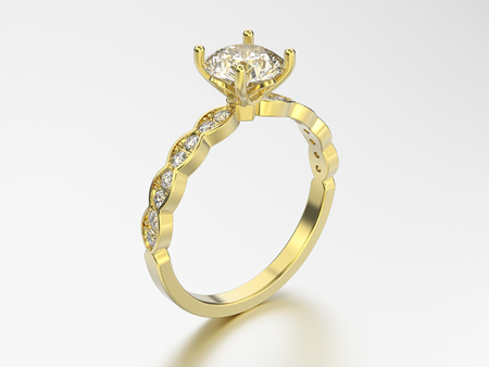 platinum: 3D illustration yellow gold ring with diamonds with reflection on a grey background Stock Photo