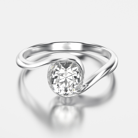 3D illustration white gold or silver bypass with diamond with reflection on a grey background