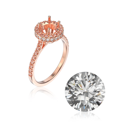 platinum: 3D illustration rose gold ring without gemstone and round diamond with reflection on a white background Stock Photo