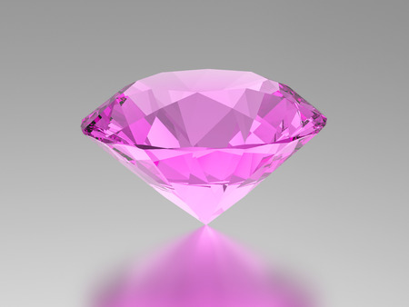 3D illustration pink diamond gemstone with reflection on a grey background
