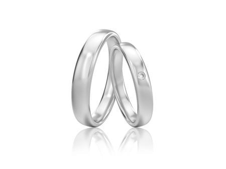 3D illustration two white gold or silver classic wedding rings with diamond with reflection on a white background