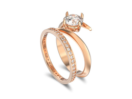 3D illustration rose gold matching band set two rings with diamonds with reflection on a white background
