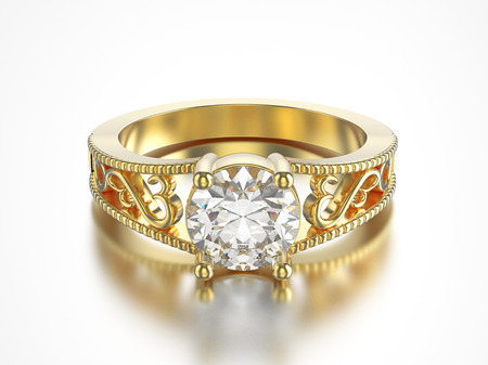 3D illustration isolated yellow gold ring with diamonds with reflection on a grey background