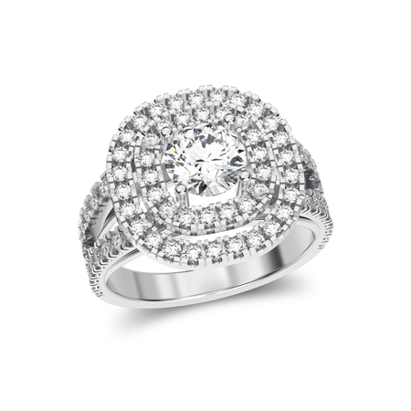 platinum: 3D illustration isolated white gold or silver ring with diamonds with reflaction on a white background Stock Photo