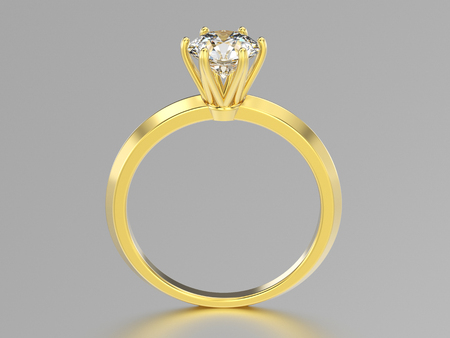 3D illustration isolated yellow gold classic ring with diamonds with reflaction on a grey background Stock Photo