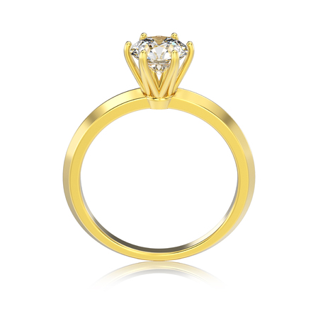 3D illustration isolated yellow gold classic ring with diamonds with reflaction on a white background