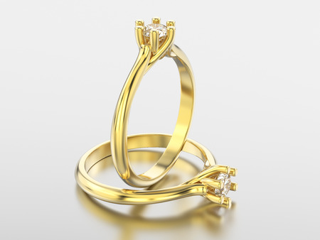3D illustration isolated two yellow gold classic rings with diamonds with reflaction on a grey background Stock Photo