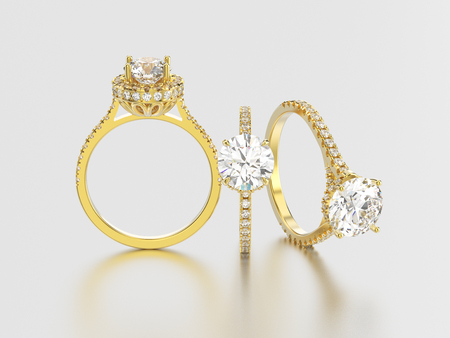3D illustration isolated three yellow gold rings with diamonds different view on a grey background with reflection