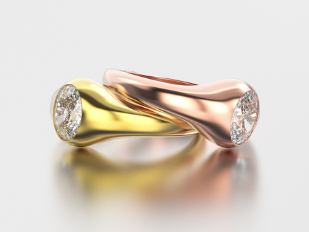 platinum: 3D illustration two yellow annd red  gold diamonds rings with reflection on a grey background