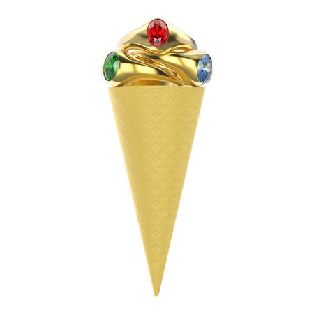 Ilustración 3D aislado helado de galleta con tres anillos de oro con diamantes de color rojo verde azul sobre un fondo blanco Foto de archivo - 83174736