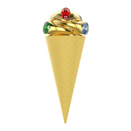 3D illustration isolated waffle ice cream with three gold rings with red green blue diamonds on a white background