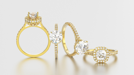 3D illustration isolated four yellow gold rings with diamonds different view on a grey background with reflection