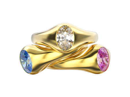platinum: 3D illustration three yellow gold diamonds rings with pink blue white diamonds with reflection on a grey background