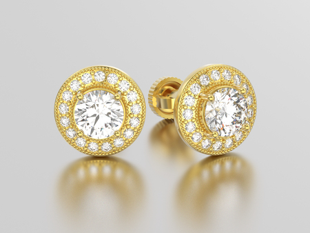diamond earrings: 3D illustration two yellow gold diamonds earrings with reflection on a grey background