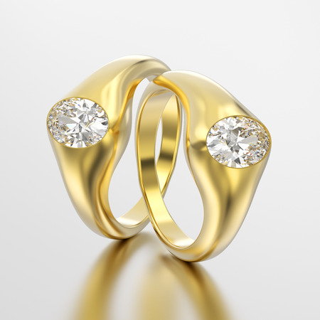 3D illustration two yellow gold diamonds rings with reflection on a grey background Stock Photo