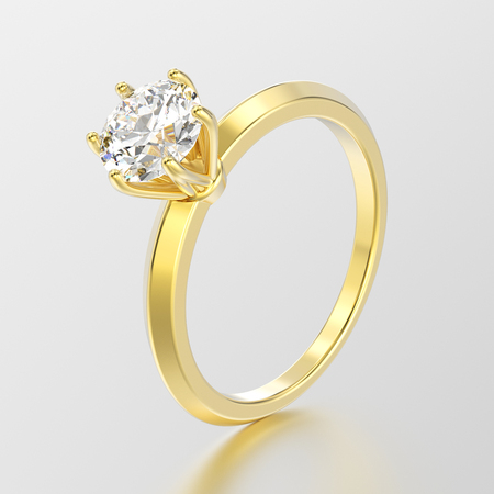 3D illustration yellow gold traditional solitaire engagement ring with diamond with reflection on a grey background