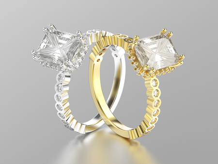 3D illustration two white gold or silver and yellow gold decorative diamonds rings with reflection on a grey background
