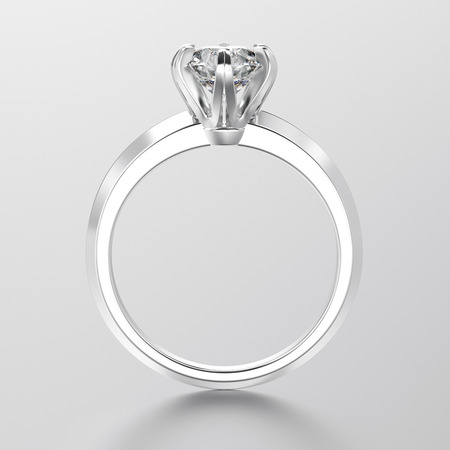 diamond ring: 3D illustration white gold or silver traditional solitaire engagement ring with diamond with reflection on a grey background