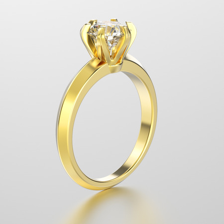 3D illustration yellow gold traditional solitaire engagement diamond  ring with reflection on a grey background Stock Photo