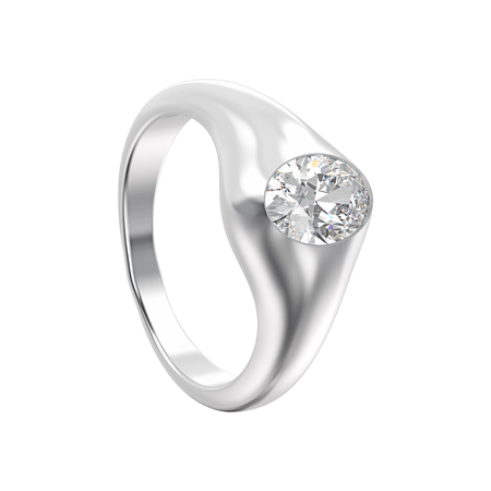 3D illustration isolated white gold or silver ring with diamond on a white background Stock Photo
