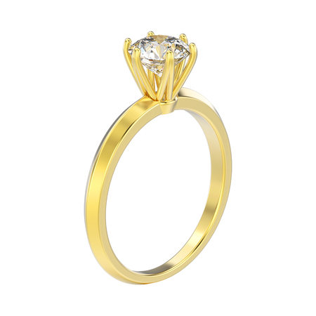 platinum: 3D illustration yellow gold traditional solitaire engagement diamond  ring on a white background