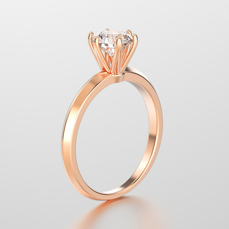 platinum: 3D illustration rose gold traditional solitaire engagement diamond ring with reflection on a grey background