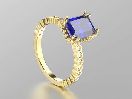wedding couple: 3D illustration yellow gold sapphire decorative ring with reflection on a white background