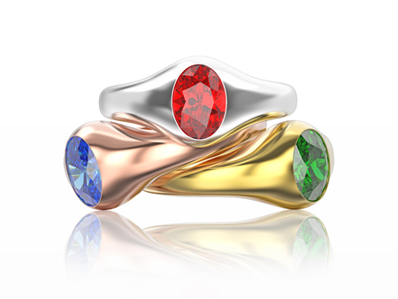 platinum: 3D illustration three yellow, rose and white gold or silver diamonds rings with red, blue, white diamonds with reflection on a white background